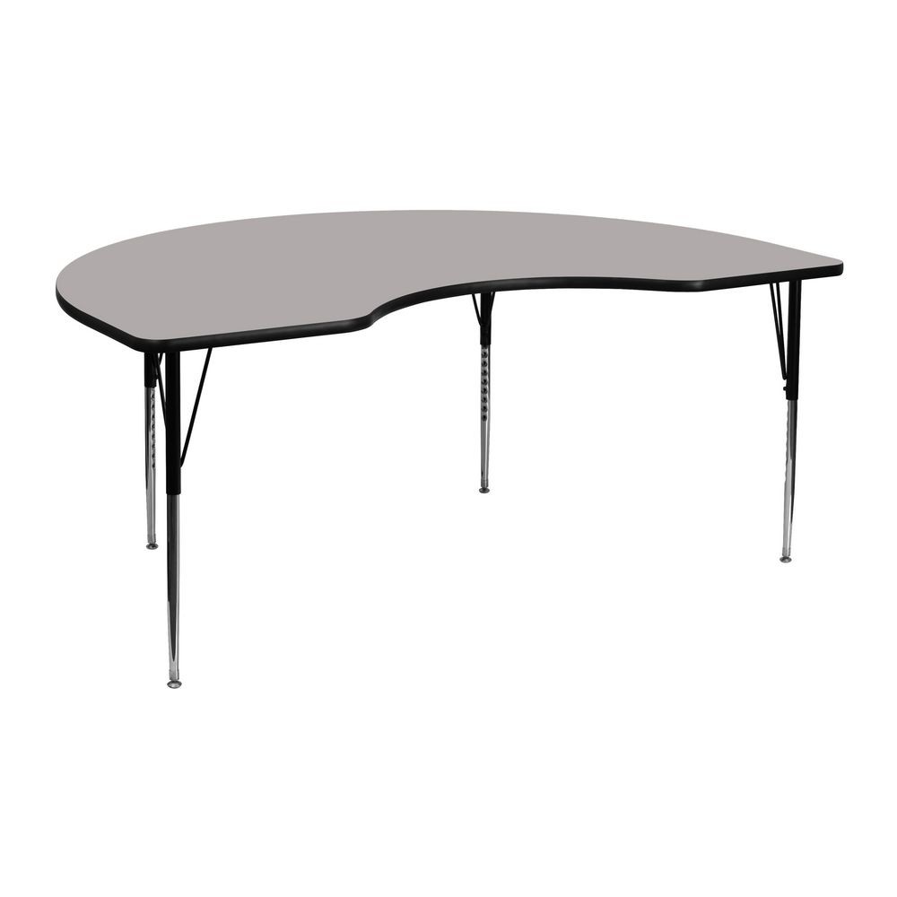 "Flash Furniture XU-A4872-KIDNY-GY-H-A-GG Kidney Shaped Activity Table with High Pressure Grey Laminate Top, Standard Height Adjustable Legs 48"" x 72"""