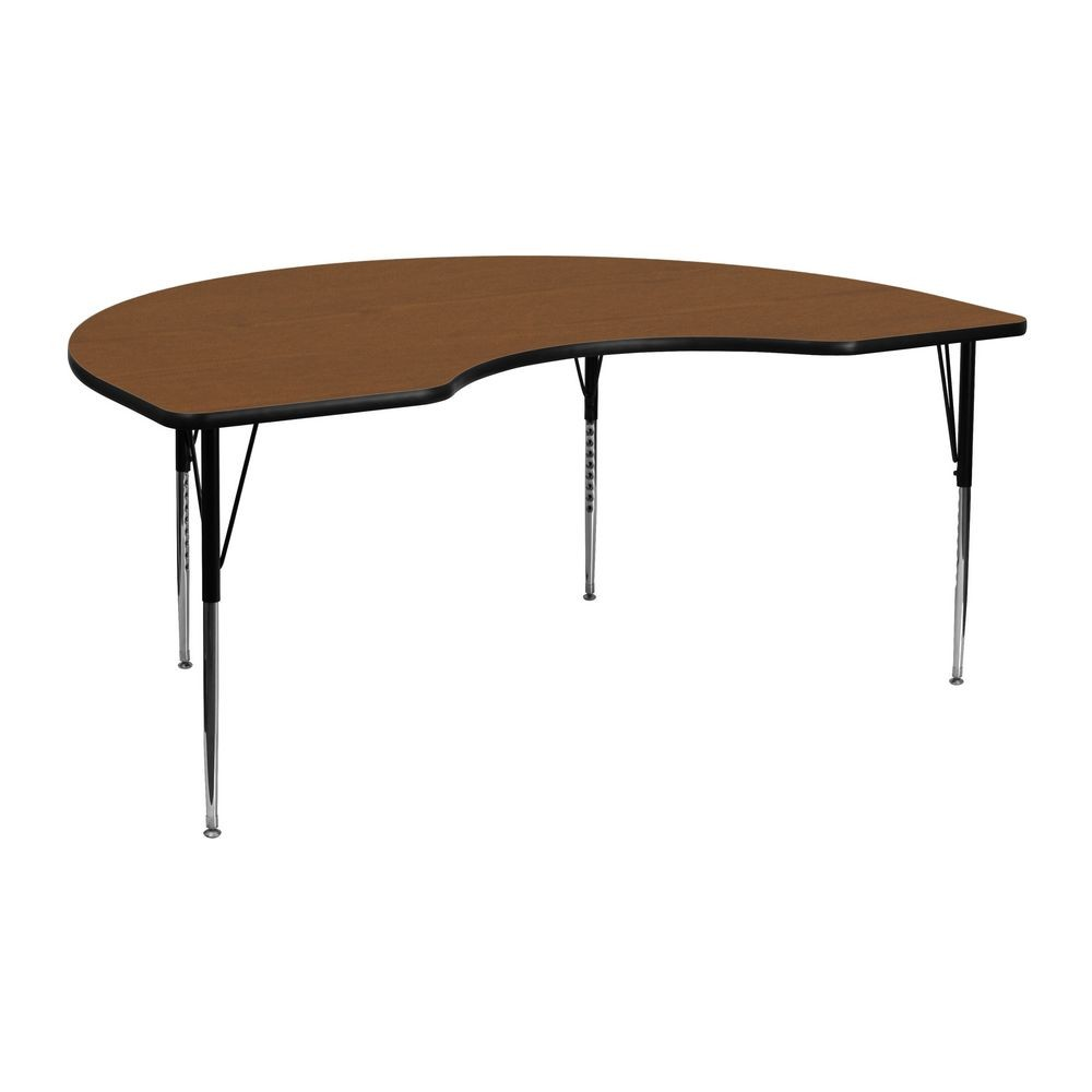 """Flash Furniture XU-A4872-KIDNY-OAK-H-A-GG Kidney Shaped Activity Table with High Pressure Oak Laminate Top, Standard Height Adjustable Legs 48"""" x 72"""""""