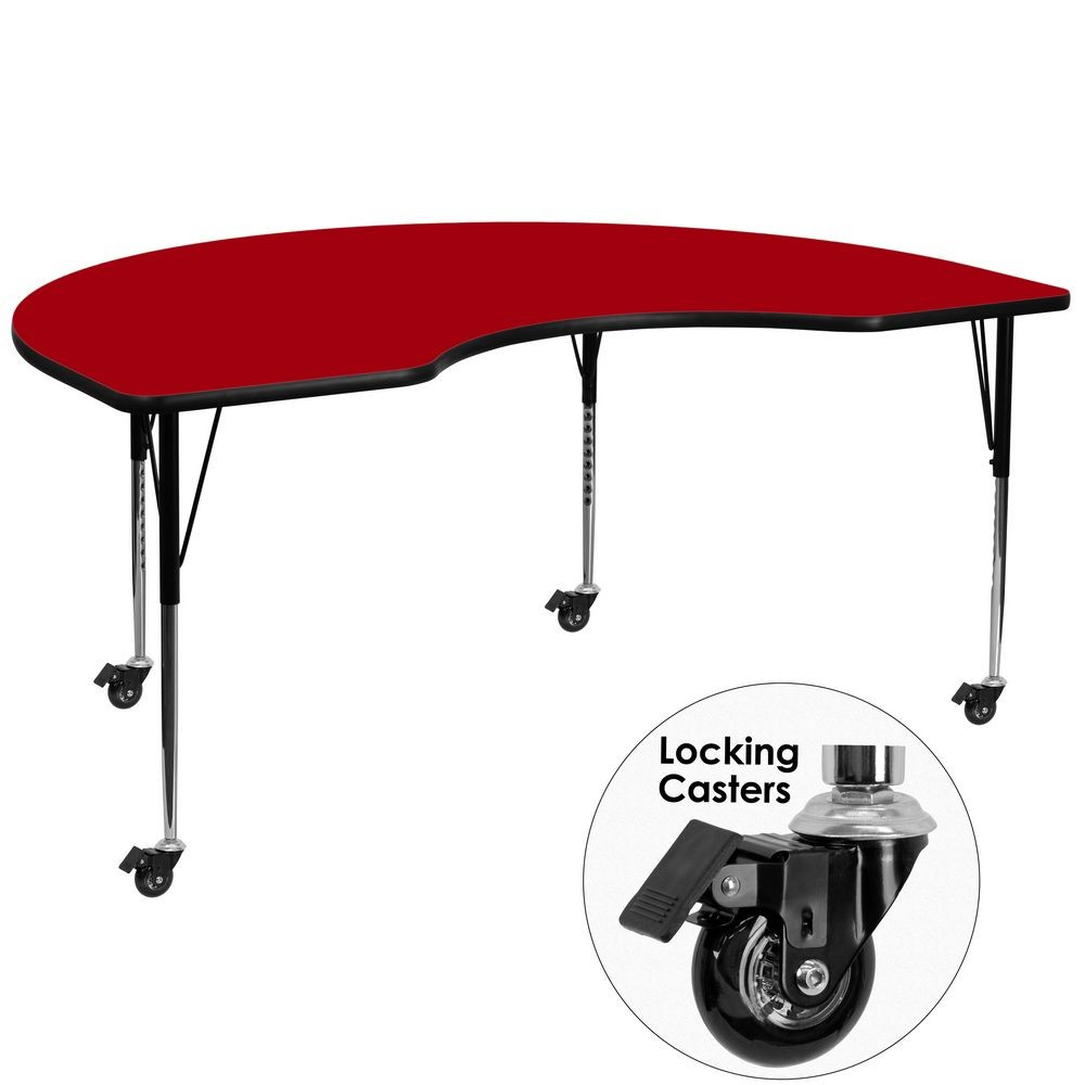 """Flash Furniture XU-A4872-KIDNY-RED-T-A-CAS-GG 48"""" x 72"""" Mobile Kidney Shaped Activity Table with Red Thermal Fused Laminate Top and Standard Height Adjustable Legs"""