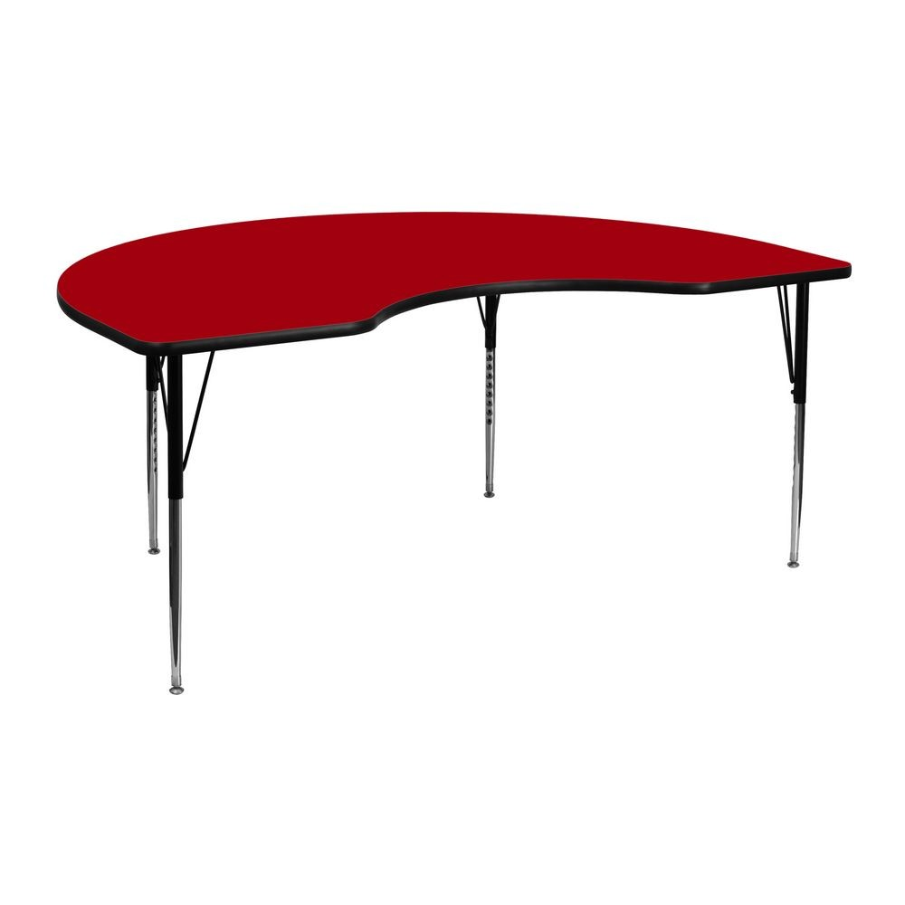 "Flash Furniture XU-A4872-KIDNY-RED-T-A-GG Kidney Shaped Activity Table with Red Thermal Fused Laminate Top, Standard Height Adjustable Legs 48"" x 72"""
