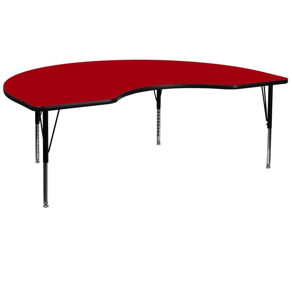 "Flash Furniture XU-A4872-KIDNY-RED-T-P-GG Kidney Shaped Activity Table with Red Thermal Fused Laminate Top and Height Adjustable Pre-School Legs 48"" x 72"""