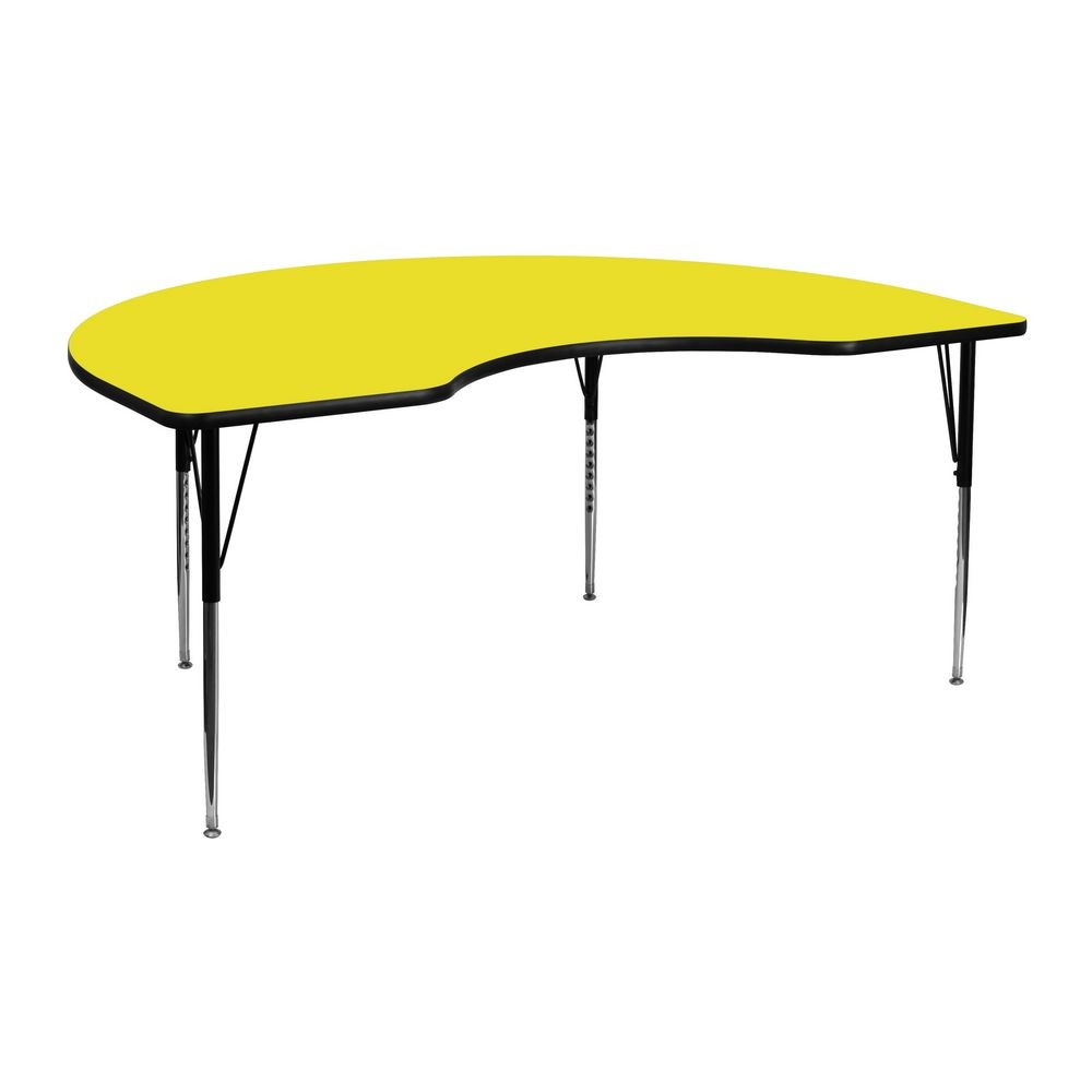 "Flash Furniture XU-A4872-KIDNY-YEL-H-A-GG Kidney Shaped Activity Table with High Pressure Yellow Laminate Top, Standard Height Adjustable Legs 48"" x 72"""