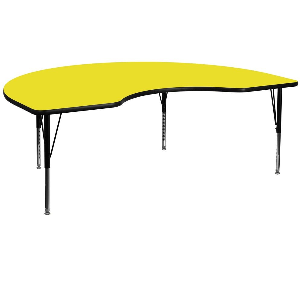 "Flash Furniture XU-A4872-KIDNY-YEL-H-P-GG Kidney Shaped Activity Table with High Pressure Yellow Laminate Top and Height Adjustable Pre-School Legs 48"" x 72"""