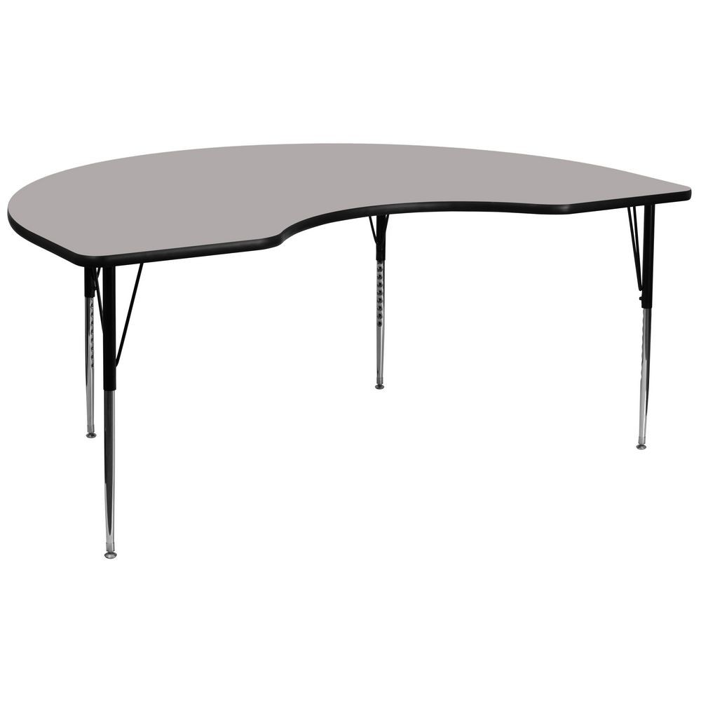 "Flash Furniture XU-A4896-KIDNY-GY-H-A-GG Kidney Shaped Activity Table with High Pressure Grey Laminate Top, Standard Height Adjustable Legs 48"" x 96"""