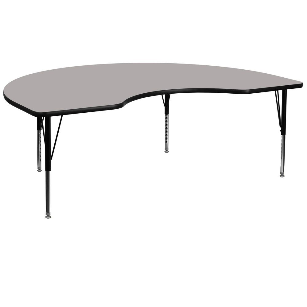 "Flash Furniture XU-A4896-KIDNY-GY-H-P-GG Kidney Shaped Activity Table with High Pressure Grey Laminate Top and Height Adjustable Pre-School Legs 48"" x 96"""