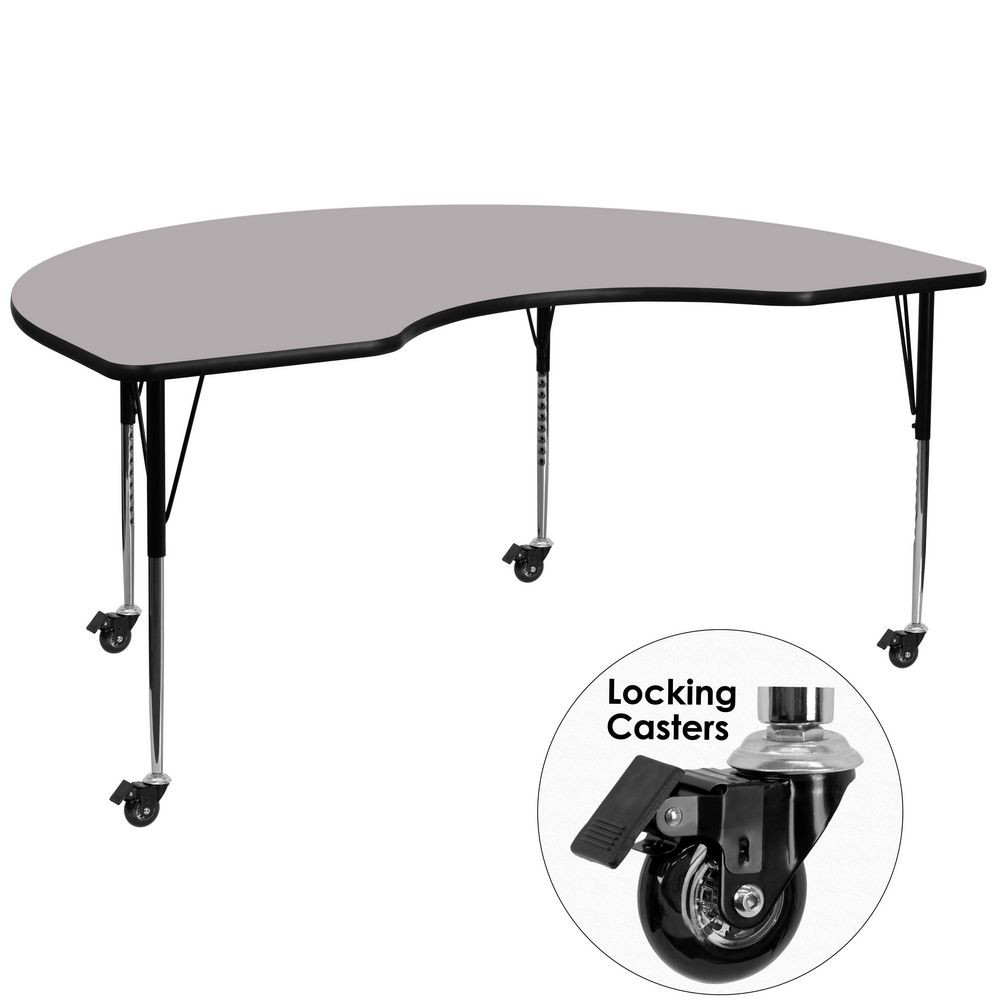 """Flash Furniture XU-A4896-KIDNY-GY-T-A-CAS-GG 48"""" x 96"""" Mobile Kidney Shaped Activity Table with Grey Thermal Fused Laminate Top and Standard Height Adjustable Legs"""