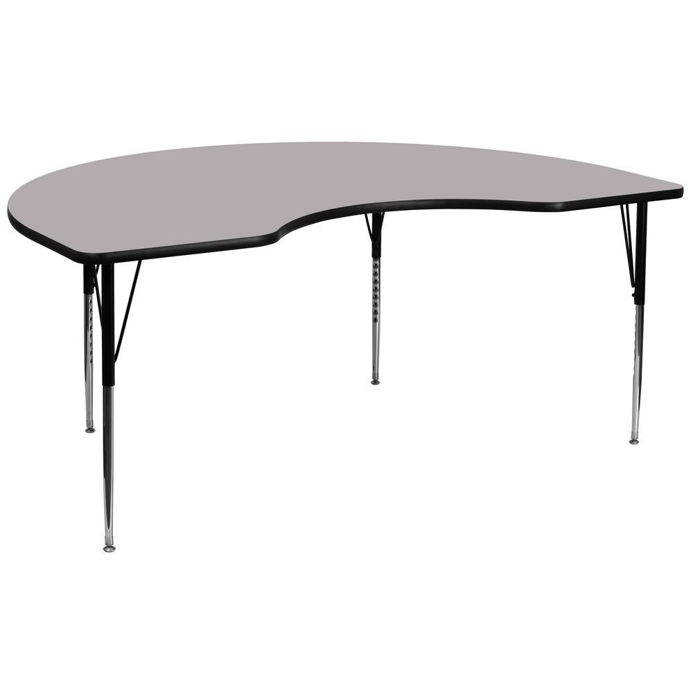 "Flash Furniture XU-A4896-KIDNY-GY-T-A-GG Kidney Shaped Activity Table with Grey Thermal Fused Laminate Top, Standard Height Adjustable Legs 48"" x 96"""