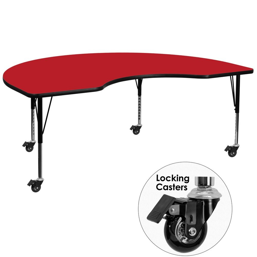 "Flash Furniture XU-A4896-KIDNY-RED-H-P-CAS-GG Mobile Kidney Shaped Activity Table with High Pressure Red Laminate Top and Height Adjustable Pre-School Legs 48"" x 96"""