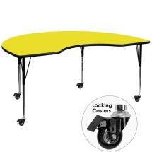 """Flash Furniture XU-A4896-KIDNY-YEL-H-A-CAS-GG Mobile Kidney Shaped Activity Table with High Pressure Yellow Laminate Top and Standard Height Adjustable Legs 48"""" x 96"""""""
