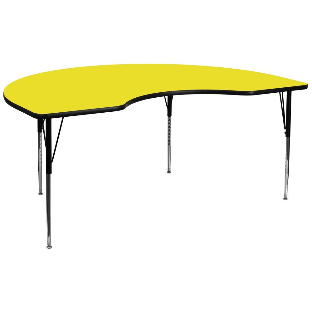 "Flash Furniture XU-A4896-KIDNY-YEL-H-A-GG Kidney Shaped Activity Table with High Pressure Yellow Laminate Top, Standard Height Adjustable Legs 48"" x 96"""