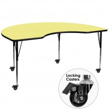 """Flash Furniture XU-A4896-KIDNY-YEL-T-A-CAS-GG Mobile Kidney Shaped Activity Table with Yellow Thermal Fused Laminate Top and Standard Height Adjustable Legs 48"""" x 96"""""""