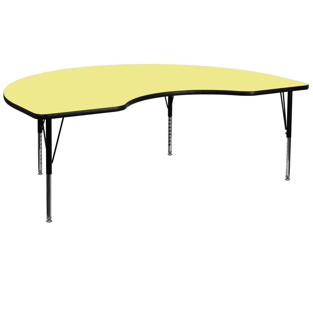 "Flash Furniture XU-A4896-KIDNY-YEL-T-P-GG Kidney Shaped Activity Table with Yellow Thermal Fused Laminate Top and Height Adjustable Pre-School Legs 48"" x 96"""
