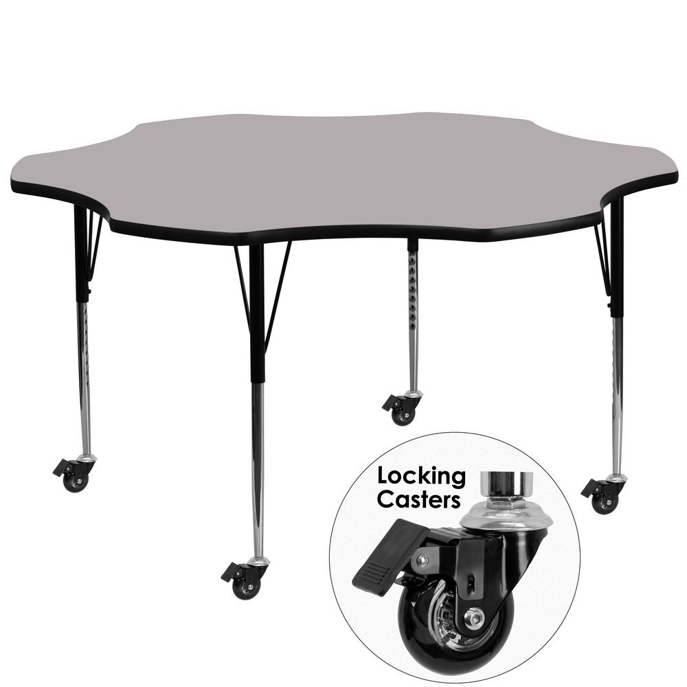 Flash Furniture XU-A60-FLR-GY-T-A-CAS-GG 60'' Mobile Flower Shaped Activity Table with Grey Thermal Fused Laminate Top and Standard Height Adjustable Legs