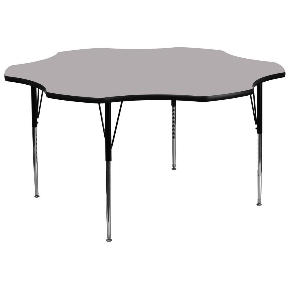 Flash Furniture XU-A60-FLR-GY-T-A-GG Flower Shaped Activity Table with Grey Thermal Fused Laminate Top and Standard Height Adjustable Legs 60""