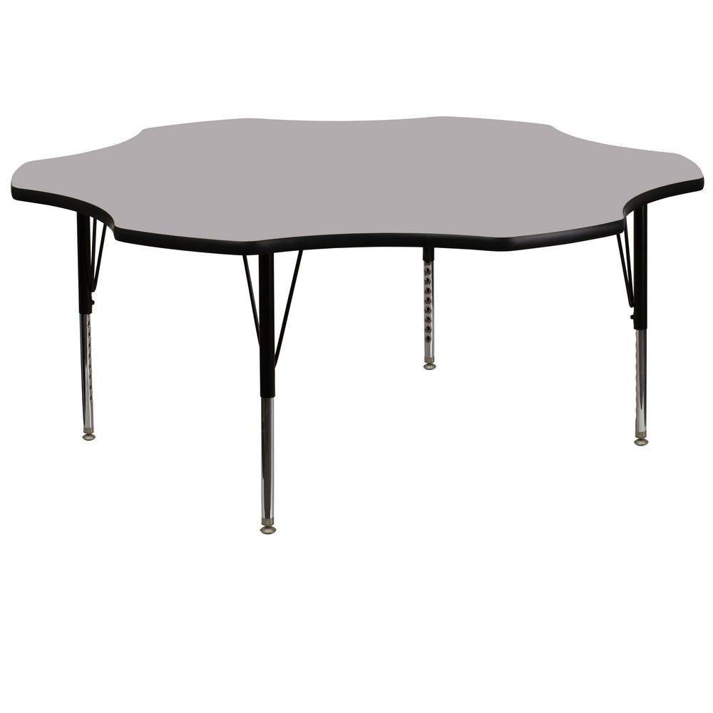 Flash Furniture XU-A60-FLR-GY-T-P-GG 60'' Flower Shaped Activity Table with Grey Thermal Fused Laminate Top and Height Adjustable Pre-School Legs