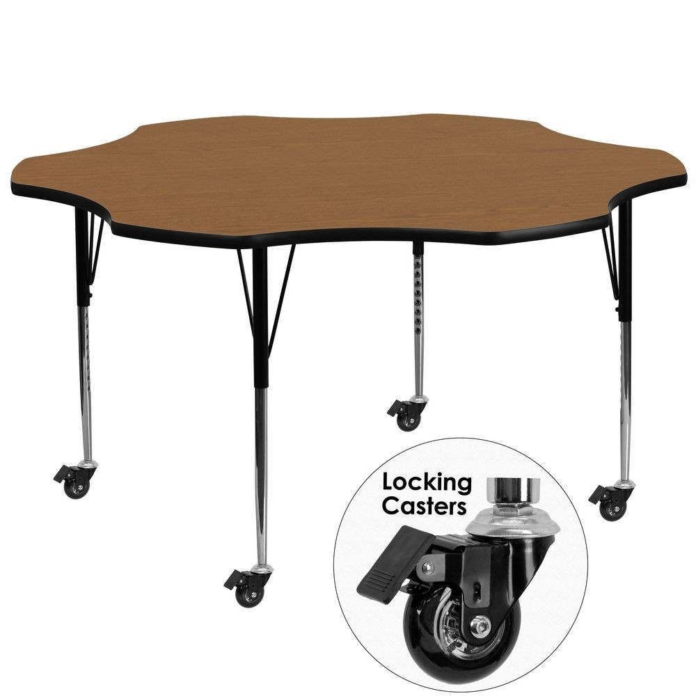 Flash Furniture XU-A60-FLR-OAK-T-A-CAS-GG 60'' Mobile Flower Shaped Activity Table with Oak Thermal Fused Laminate Top and Standard Height Adjustable Legs