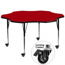 Flash Furniture XU-A60-FLR-RED-T-A-CAS-GG Mobile Flower Shaped Activity Table with Red Thermal Fused Laminate Top and Standard Height Adjustable Legs 60""