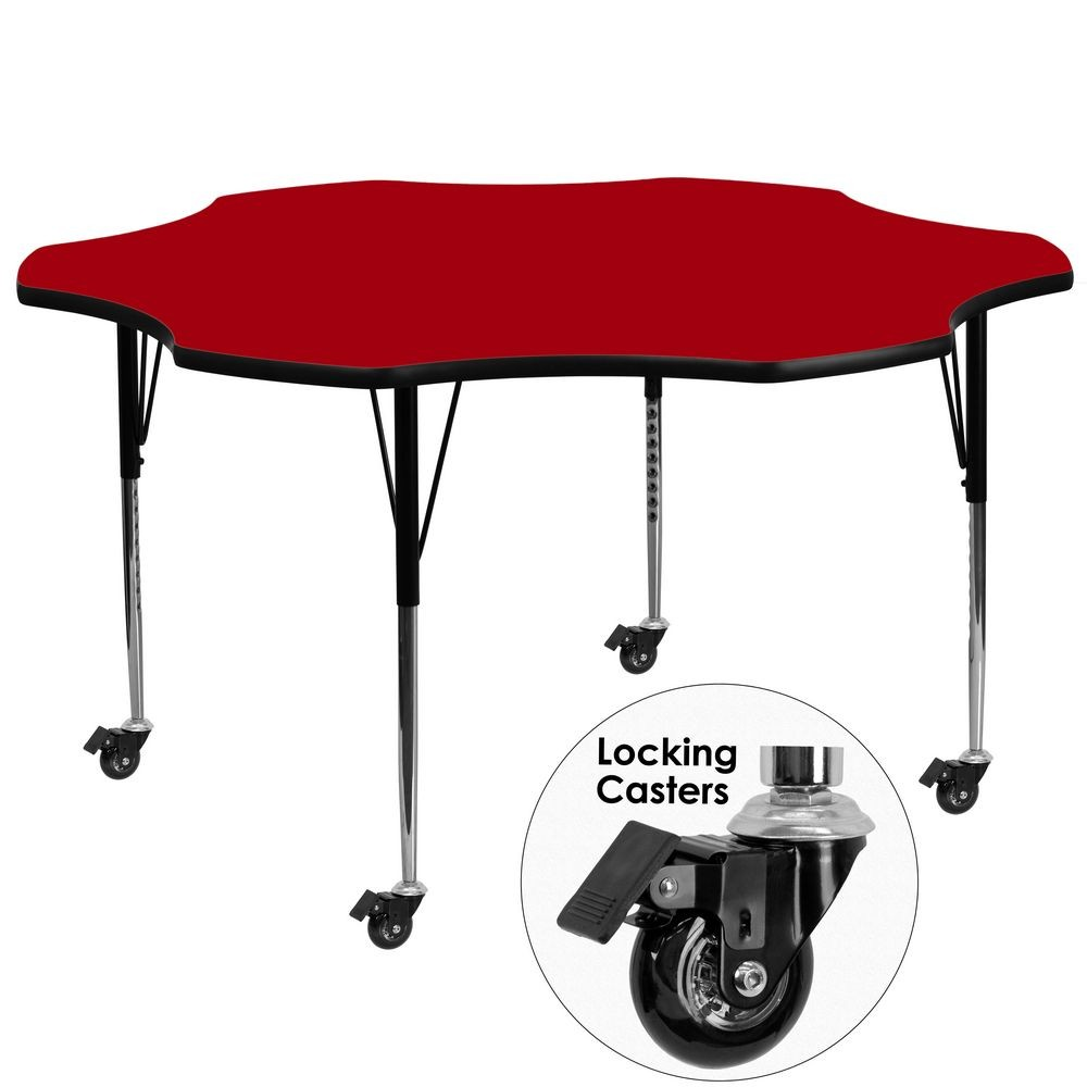 Flash Furniture XU-A60-FLR-RED-T-A-CAS-GG 60'' Mobile Flower Shaped Activity Table with Red Thermal Fused Laminate Top and Standard Height Adjustable Legs