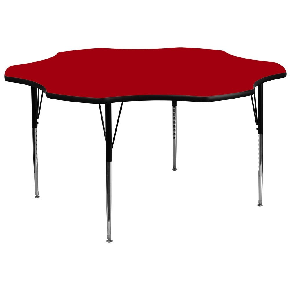 Flash Furniture XU-A60-FLR-RED-T-A-GG Flower Shaped Activity Table with Red Thermal Fused Laminate Top and Standard Height Adjustable Legs 60""