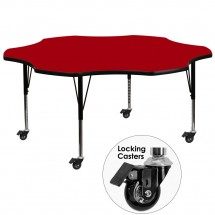 """Flash Furniture XU-A60-FLR-RED-T-P-CAS-GG Mobile Flower Shaped Activity Table with Red Thermal Fused Laminate Top and Height Adjustable Pre-School Legs 60"""""""
