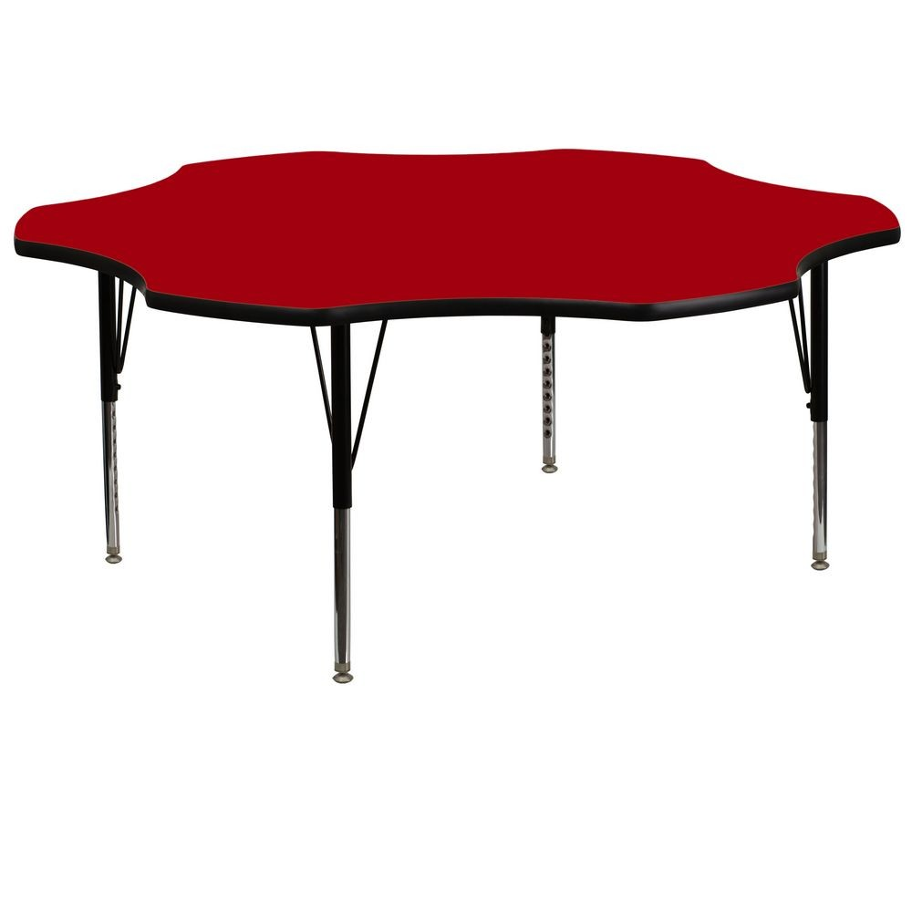 Flash Furniture XU-A60-FLR-RED-T-P-GG Flower Shaped Activity Table with Red Thermal Fused Laminate Top and Height Adjustable Pre-School Legs 60""