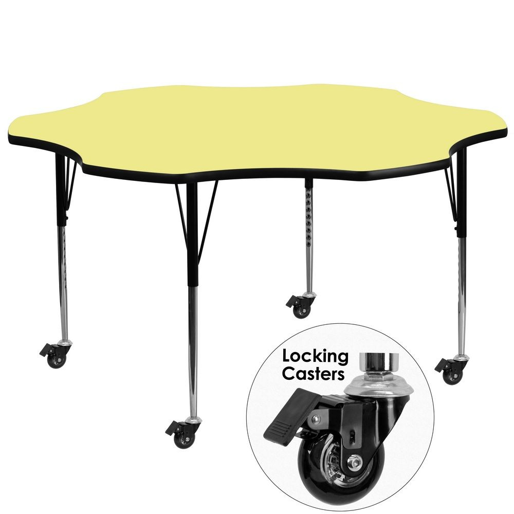 Flash Furniture XU-A60-FLR-YEL-T-A-CAS-GG Mobile Flower Shaped Activity Table with Yellow Thermal Fused Laminate Top and Standard Height Adjustable Legs 60""
