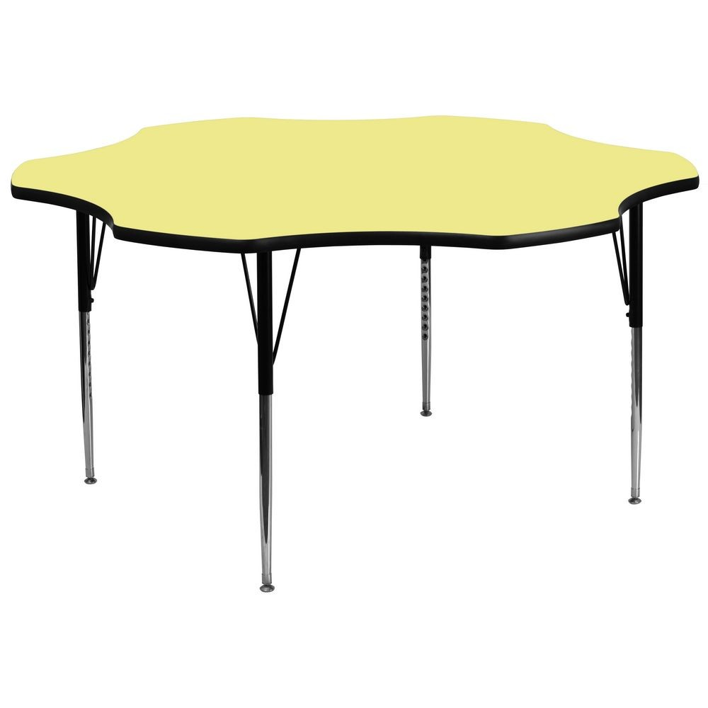 Flash Furniture XU-A60-FLR-YEL-T-A-GG Flower Shaped Activity Table with Yellow Thermal Fused Laminate Top and Standard Height Adjustable Legs 60""
