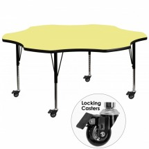 """Flash Furniture XU-A60-FLR-YEL-T-P-CAS-GG Mobile Flower Shaped Activity Table with Yellow Thermal Fused Laminate Top and Height Adjustable Pre-School Legs 60"""""""