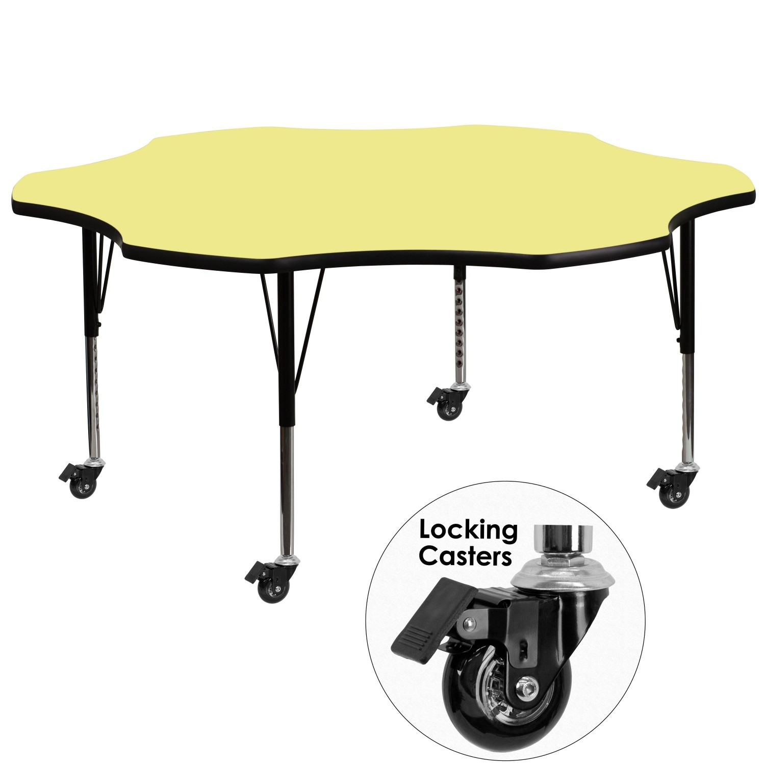 Flash Furniture XU-A60-FLR-YEL-T-P-CAS-GG 60'' Mobile Flower Shaped Activity Table with Yellow Thermal Fused Laminate Top and Height Adjustable Pre-School Legs