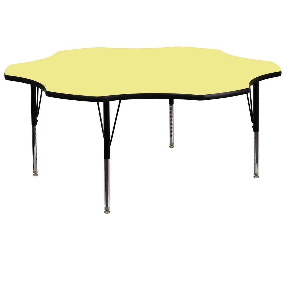 Flash Furniture XU-A60-FLR-YEL-T-P-GG Flower Shaped Activity Table with Yellow Thermal Fused Laminate Top and Height Adjustable Pre-School Legs 60""
