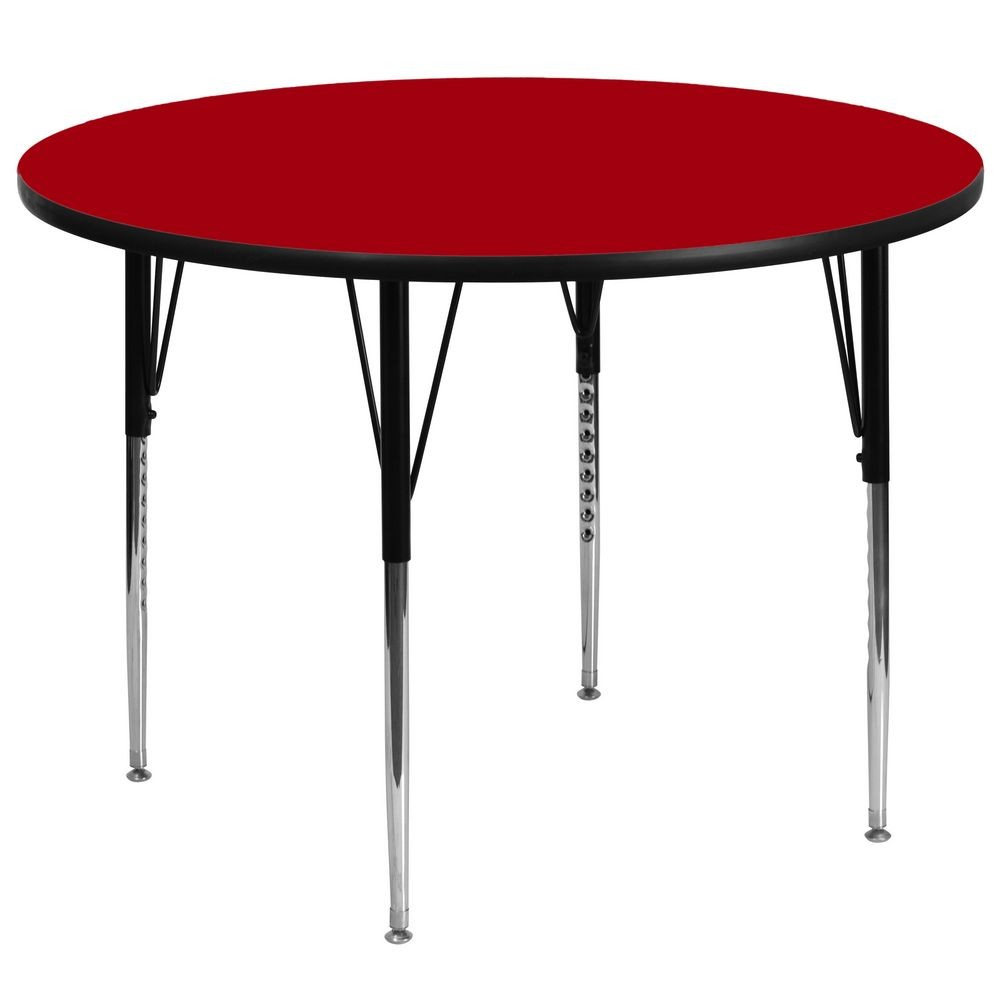 Flash Furniture XU-A60-RND-RED-T-A-GG Round Activity Table with Red Thermal Fused Laminate Top and Standard Height Adjustable Legs 60""
