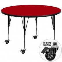 Flash Furniture XU-A60-RND-RED-T-P-CAS-GG Mobile Round Activity Table with Red Thermal Fused Laminate Top and Height Adjustable Pre-School Legs 60""