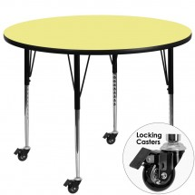 Flash Furniture XU-A60-RND-YEL-T-A-CAS-GG Mobile Round Activity Table with Yellow Thermal Fused Laminate Top and Standard Height Adjustable Legs 60""