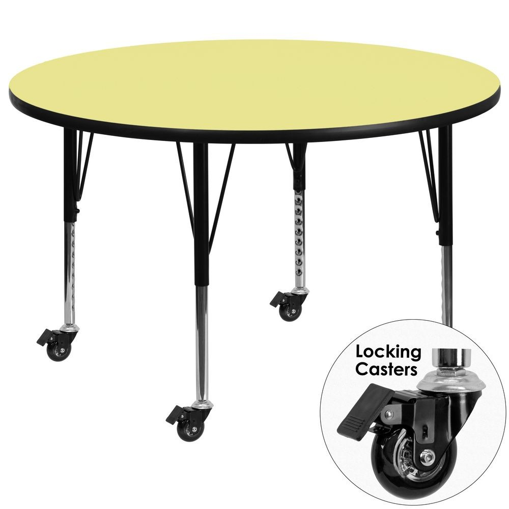 Flash Furniture XU-A60-RND-YEL-T-P-CAS-GG Mobile Round Activity Table with Yellow Thermal Fused Laminate Top and Height Adjustable Pre-School Legs 60""
