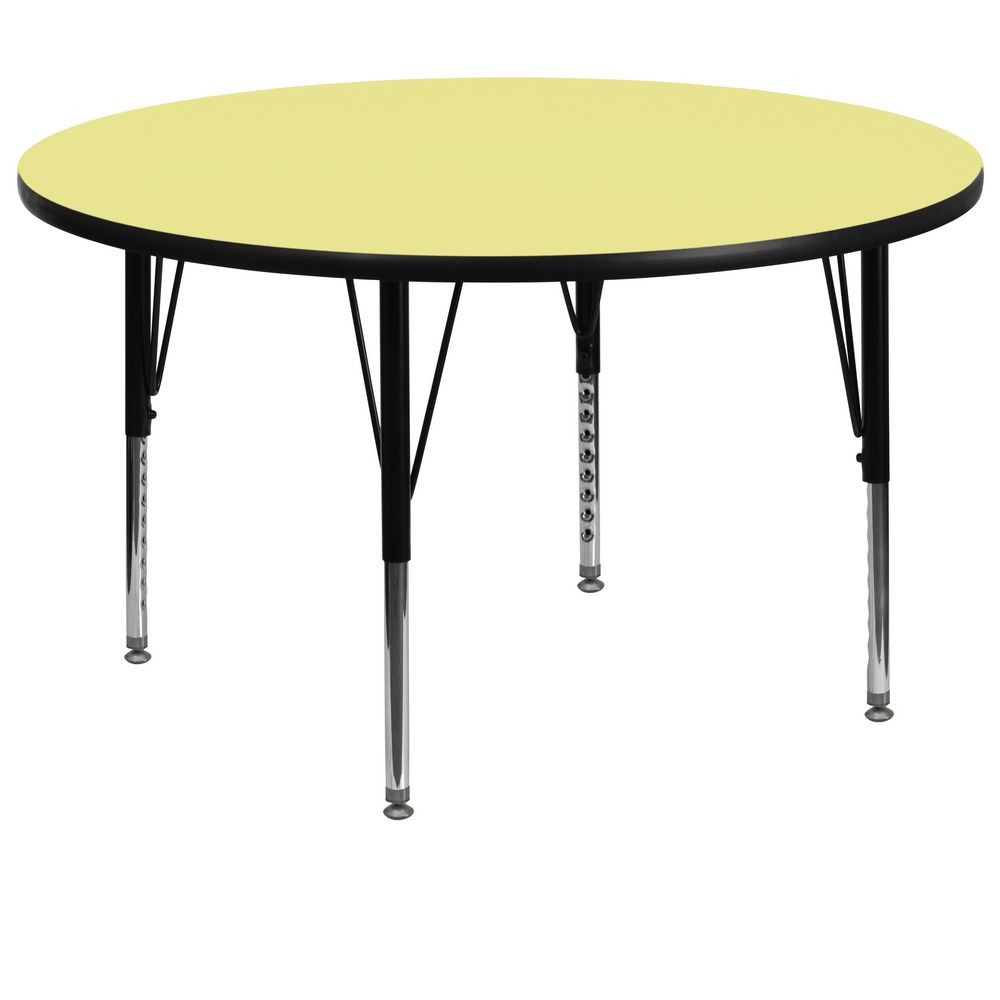 Flash Furniture XU-A60-RND-YEL-T-P-GG 60'' Round Activity Table with Yellow Thermal Fused Laminate Top and Height Adjustable Pre-School Legs