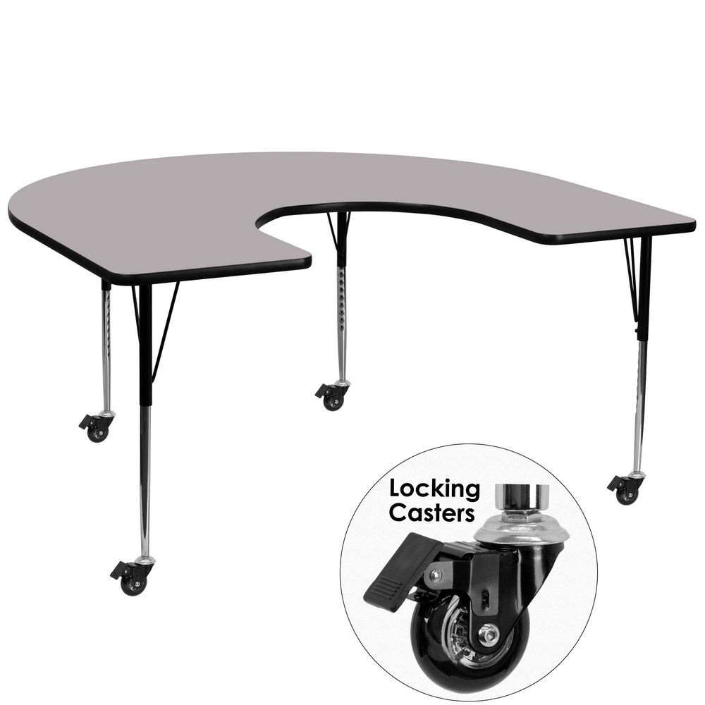 "Flash Furniture XU-A6066-HRSE-GY-T-A-CAS-GG Mobile Horseshoe Activity Table with Grey Thermal Fused Laminate Top and Standard Height Adjustable Legs 60"" x 66"""