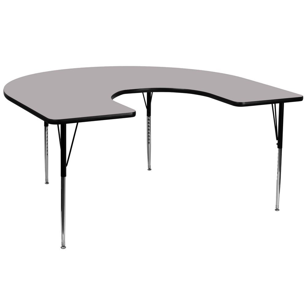 "Flash Furniture XU-A6066-HRSE-GY-T-A-GG Horseshoe Activity Table with Grey Thermal Fused Laminate Top and Standard Height Adjustable Legs 60"" x 66"""