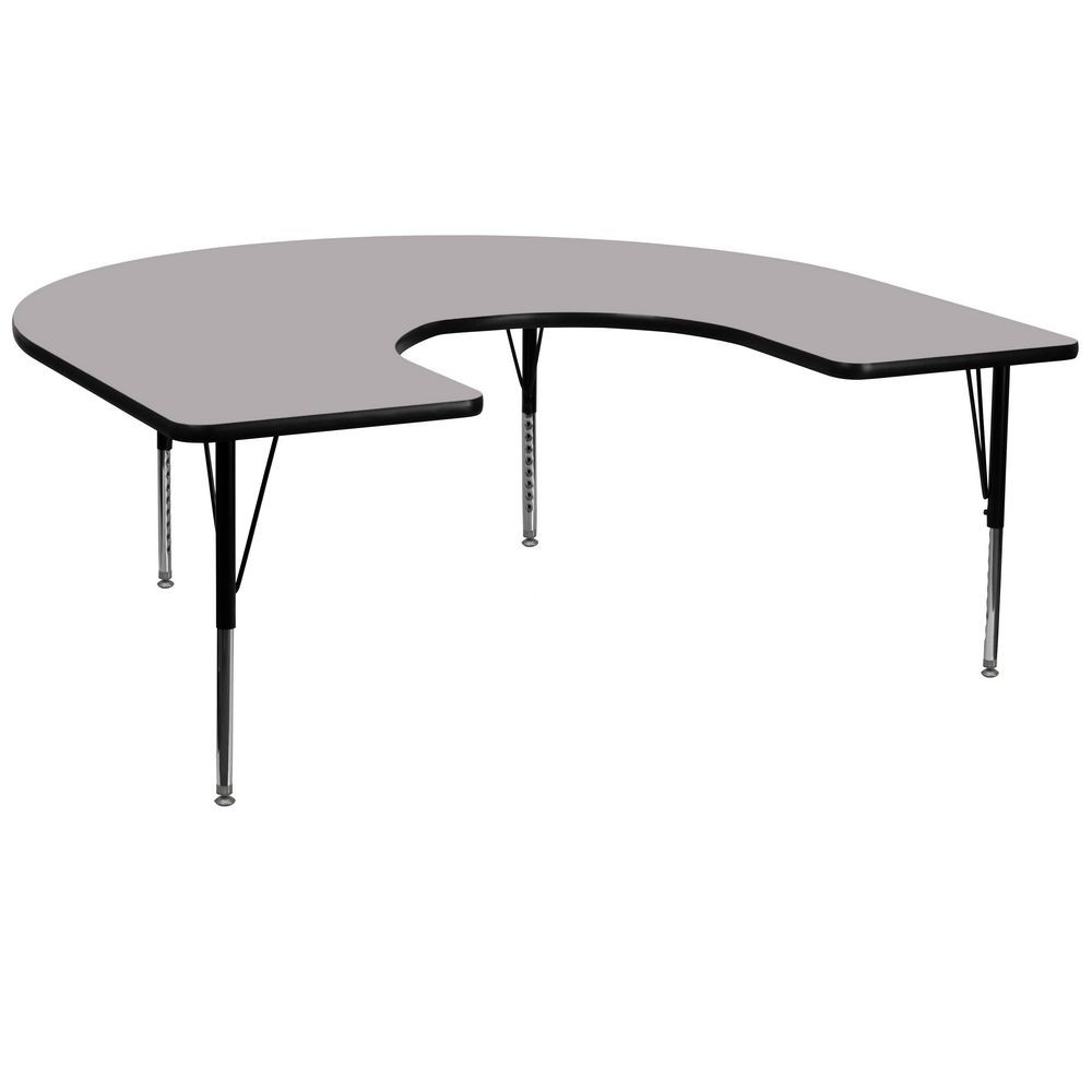 "Flash Furniture XU-A6066-HRSE-GY-T-P-GG Horseshoe Activity Table with Grey Thermal Fused Laminate Top and Height Adjustable Pre-School Legs 60"" x 66"""