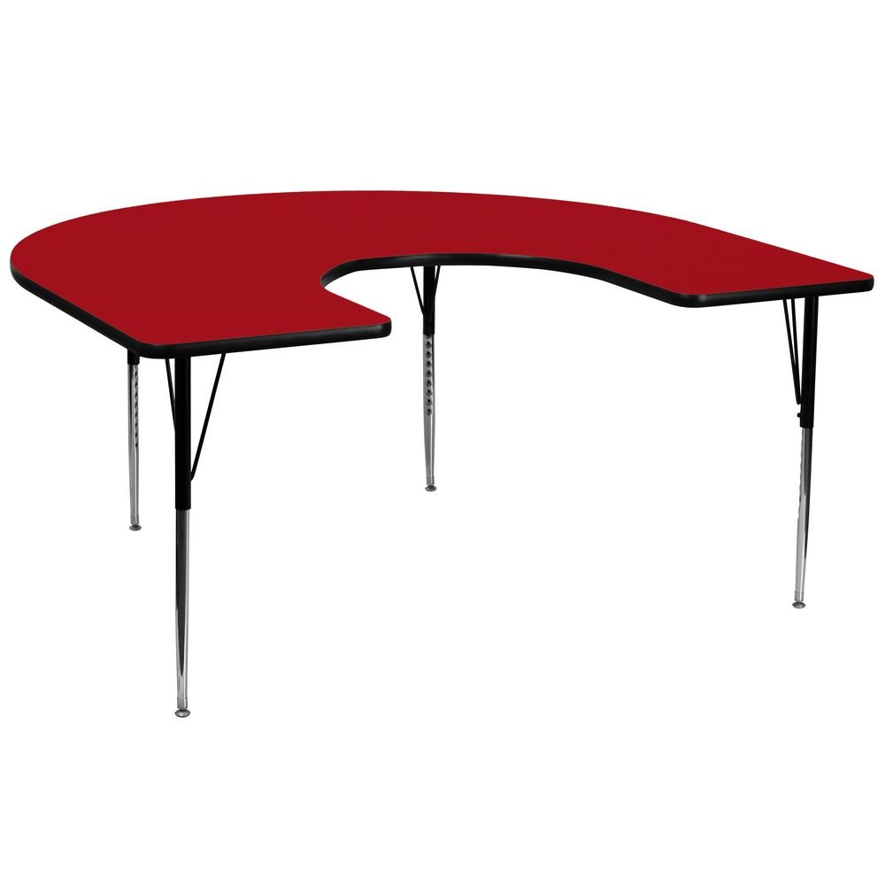 "Flash Furniture XU-A6066-HRSE-RED-T-A-GG Horseshoe Activity Table with Red Thermal Fused Laminate Top and Standard Height Adjustable Legs 60"" x 66"""