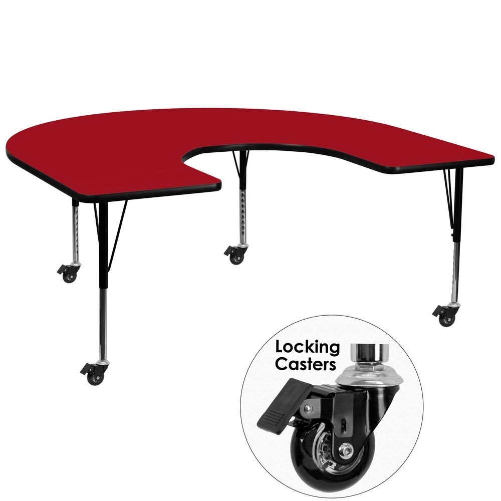 "Flash Furniture XU-A6066-HRSE-RED-T-P-CAS-GG Mobile Horseshoe Activity Table with Red Thermal Fused Laminate Top and Height Adjustable Pre-School Legs 60"" x 66"""