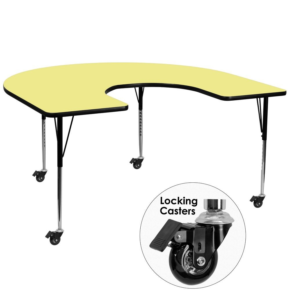 "Flash Furniture XU-A6066-HRSE-YEL-T-A-CAS-GG Mobile Horseshoe Activity Table with Yellow Thermal Fused Laminate Top and Standard Height Adjustable Legs 60"" x 66"""