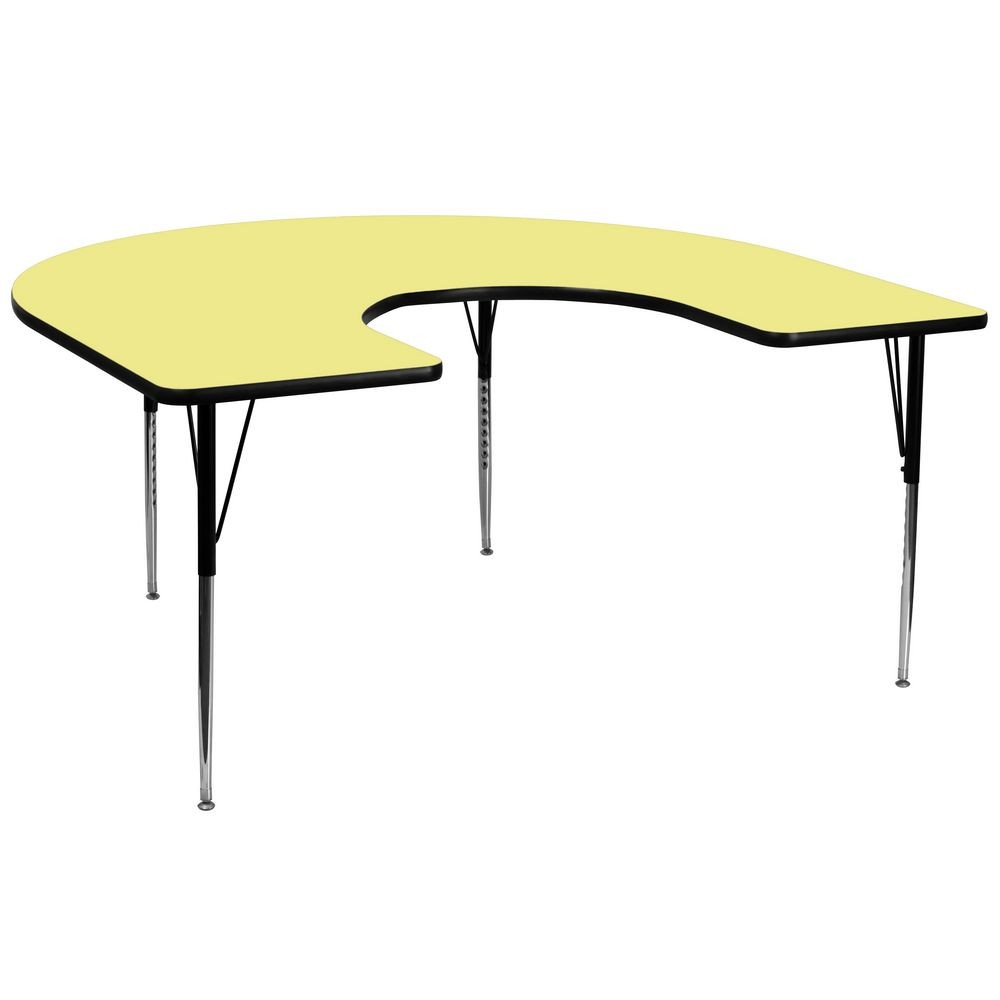 "Flash Furniture XU-A6066-HRSE-YEL-T-A-GG Horseshoe Activity Table with Yellow Thermal Fused Laminate Top and Standard Height Adjustable Legs 60"" x 66"""