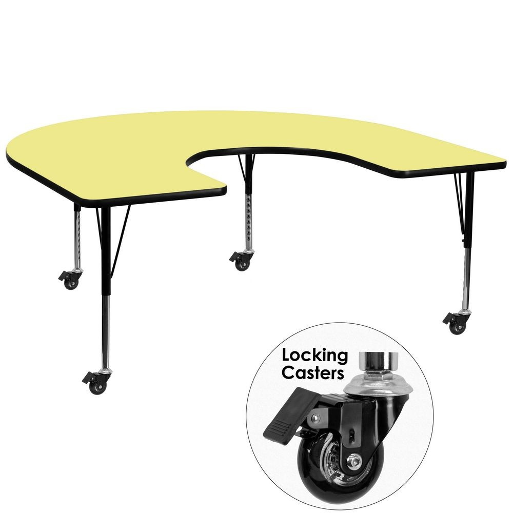 "Flash Furniture XU-A6066-HRSE-YEL-T-P-CAS-GG Mobile Horseshoe Activity Table with Yellow Thermal Fused Laminate Top and Height Adjustable Pre-School Legs 60"" x 66"""