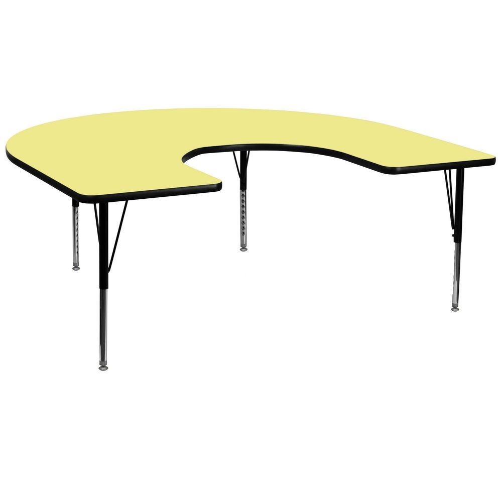 "Flash Furniture XU-A6066-HRSE-YEL-T-P-GG Horseshoe Activity Table with Yellow Thermal Fused Laminate Top and Height Adjustable Pre-School Legs 60"" x 66"""