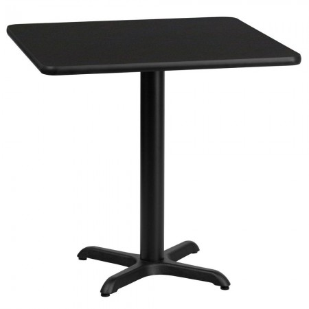 """Flash Furniture XU-BLKTB-2424-T2222-GG 24"""" Square Black Laminate tabletop with 22"""" x 22"""" Table Height Base"""