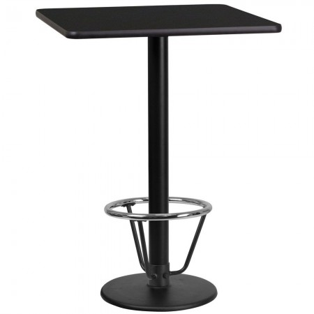 "Flash Furniture XU-BLKTB-2424-TR18B-3CFR-GG 24"" Square Black Laminate Table Top with 18"" Round Bar Height Table Base and Foot Ring"