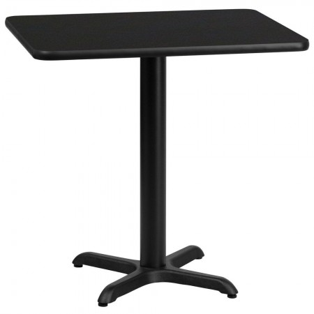 "Flash Furniture XU-BLKTB-2430-T2222-GG 24"" x 30"" Rectangular Black Laminate Table Top with 22"" x 22"" Table Height Base"