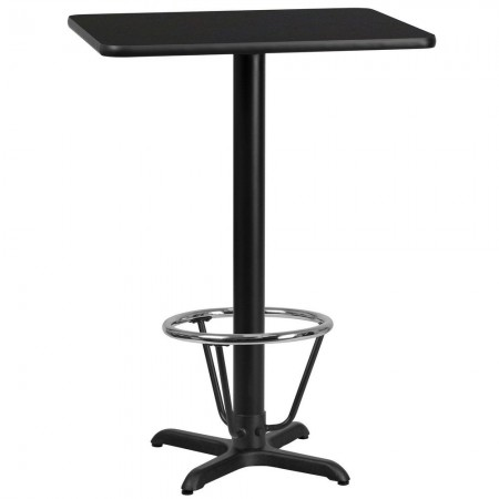 "Flash Furniture XU-BLKTB-2430-T2222B-3CFR-GG 24"" x 30"" Rectangular Black Laminate Table Top with 22"" x 22"" Bar Height Table Base and Foot Ring"