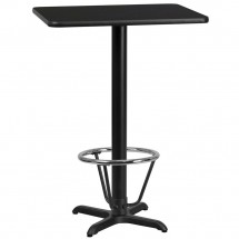 """Flash Furniture XU-BLKTB-2430-T2222B-3CFR-GG 24"""" x 30"""" Rectangular Black Laminate Table Top with 22"""" x 22"""" Bar Height Table Base and Foot Ring"""