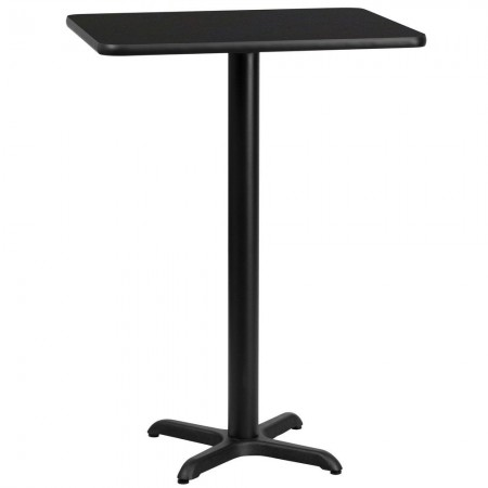 "Flash Furniture XU-BLKTB-2430-T2222B-GG 24"" x 30"" Rectangular Black Laminate Table Top with 22"" x 22"" Bar Height Table Base"